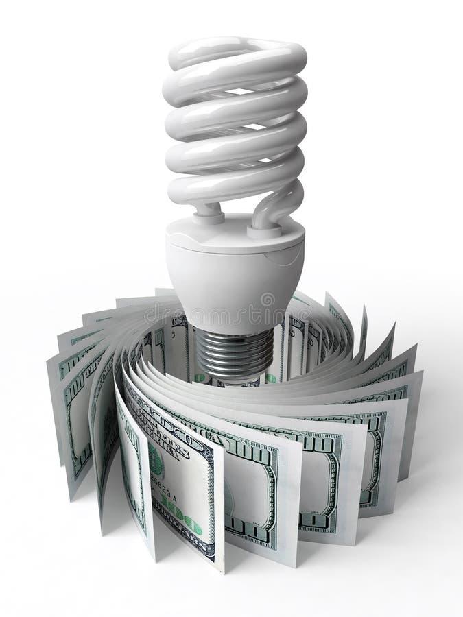 Энергосберегающие шарики и деньги иллюстрация вектора