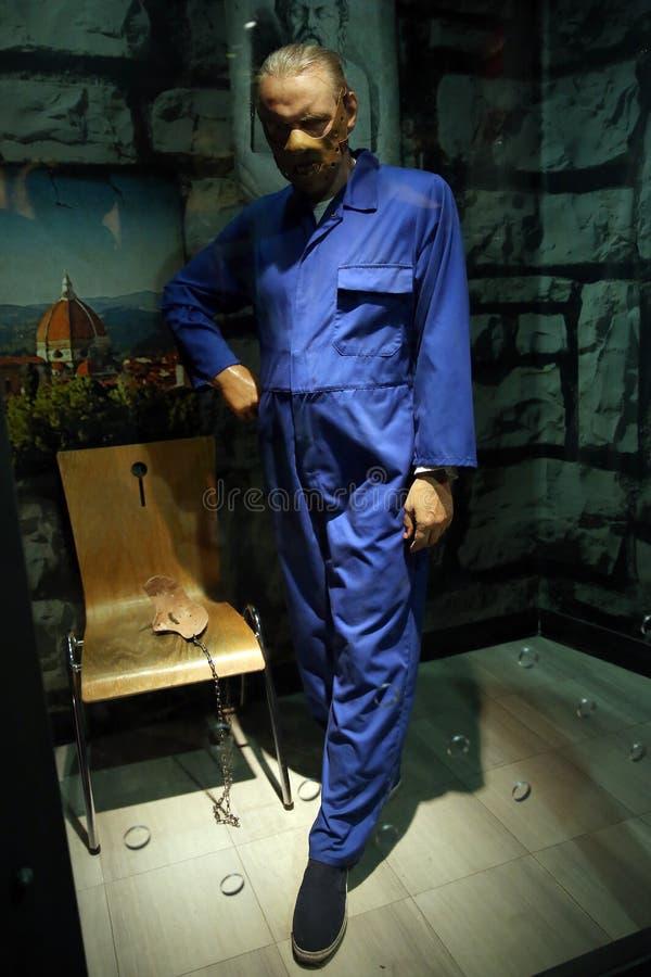 Энтони Хопкинс как статуя воска Hannibal Lecter стоковое фото rf