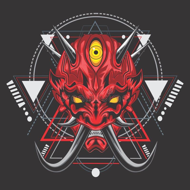 Эпичная маска самурая демона иллюстрация вектора