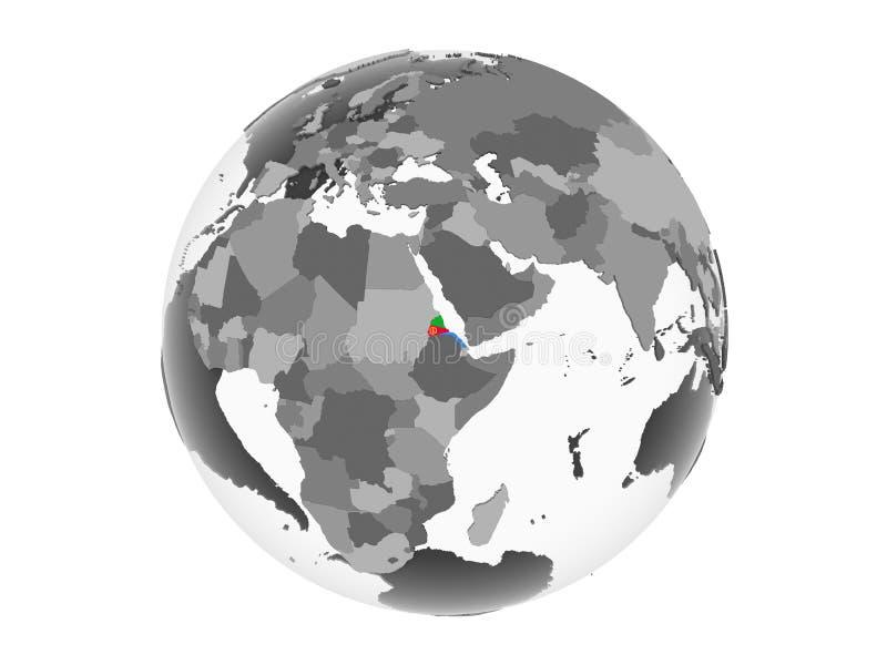 Эритрея с флагом на изолированном глобусе иллюстрация вектора