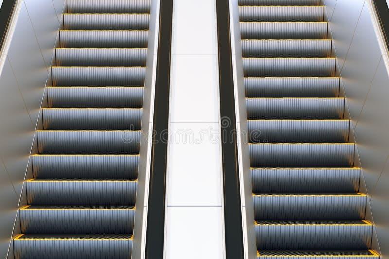 Эскалатор металла в современной станции метро офиса или общественного здания, торгового центра, аэропорта, железной дороги или ме стоковые изображения