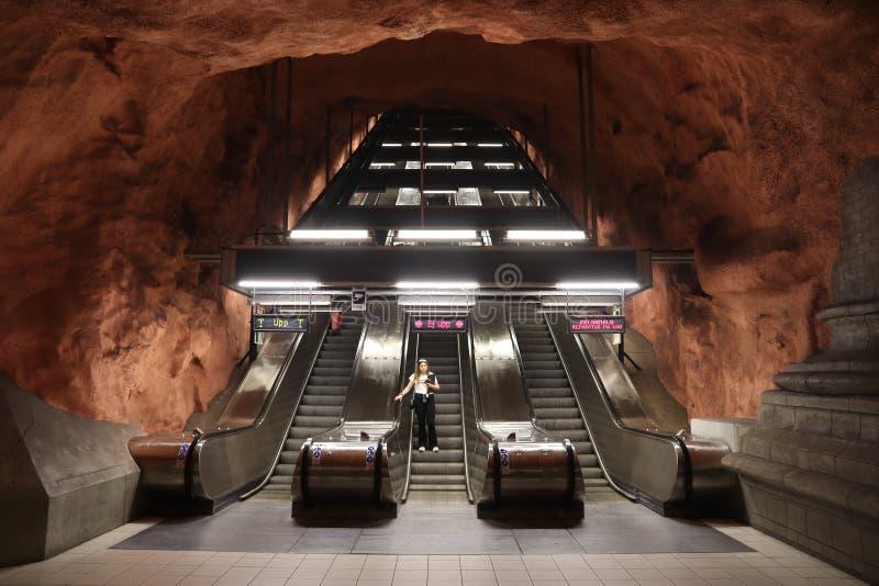Эскалатор метро Стокгольма стоковые фото