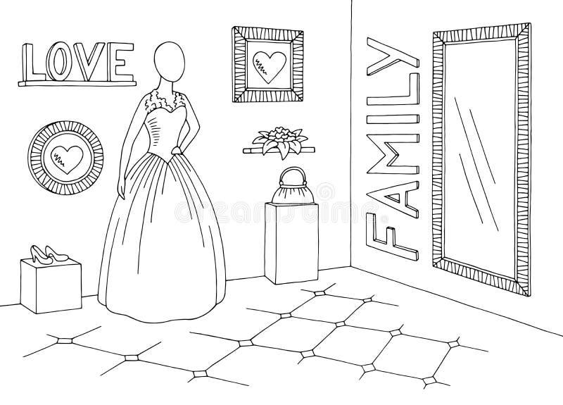 Эскиза магазина бутика свадьбы вектор иллюстрации графического черного белого внутренний иллюстрация вектора