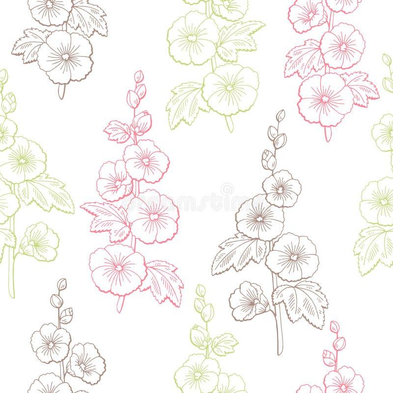 Эскиза цвета цветка просвирника вектор иллюстрации картины графического безшовный иллюстрация вектора