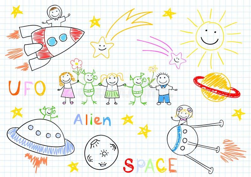 Эскизы вектора с счастливыми детьми и чужеземцами бесплатная иллюстрация