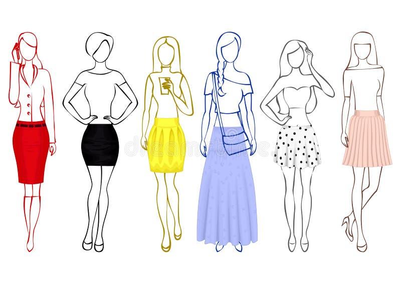 Эскизы девушек в юбках бесплатная иллюстрация