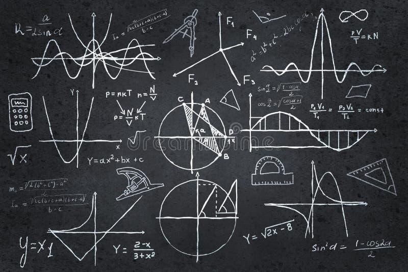 Эскизы математики на классн классном стоковые фотографии rf
