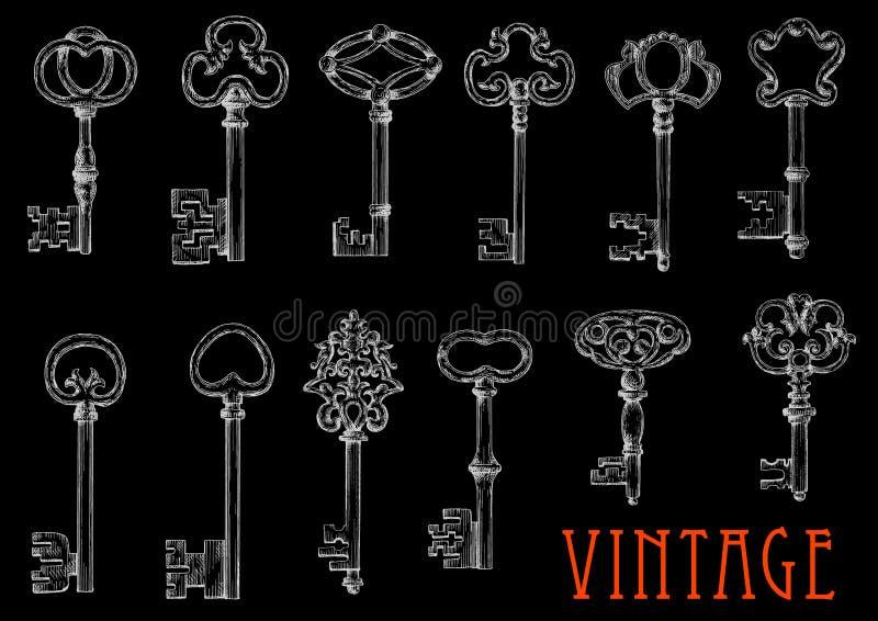 Эскизы мела винтажных ключей на классн классном иллюстрация вектора