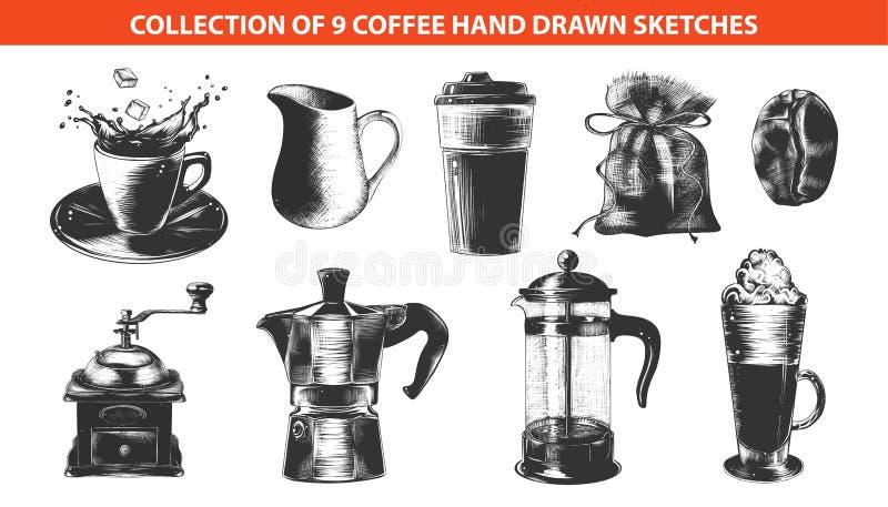 Эскизы руки вычерченные внутри monochrome изолированного на белой предпосылке Детальный винтажный чертеж стиля woodcut иллюстрация вектора