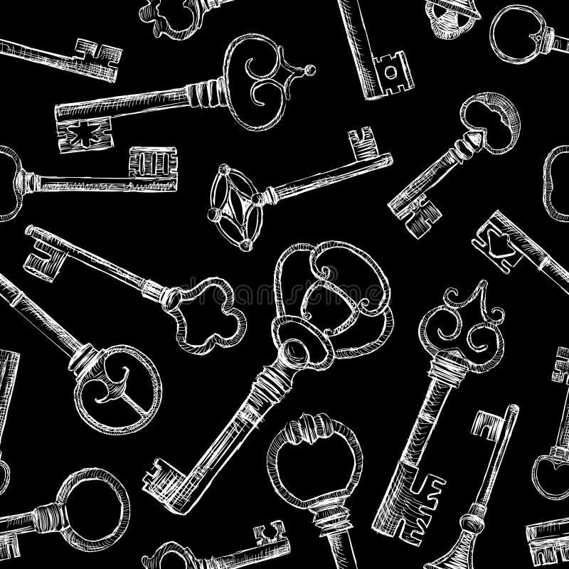 Эскизы старых ключей иллюстрация вектора