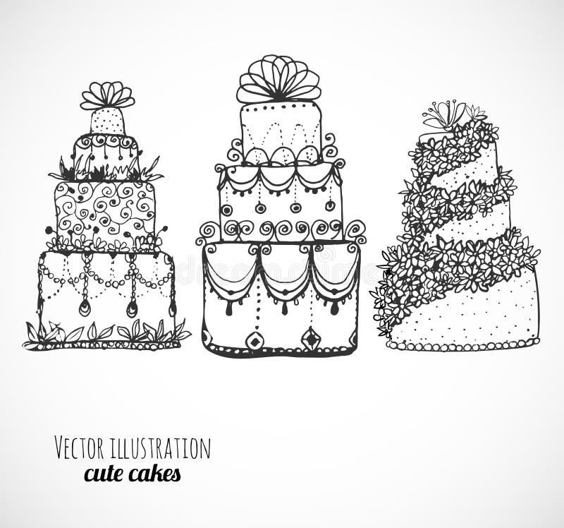 Эскизы тортов и пирожных на белизне иллюстрация вектора