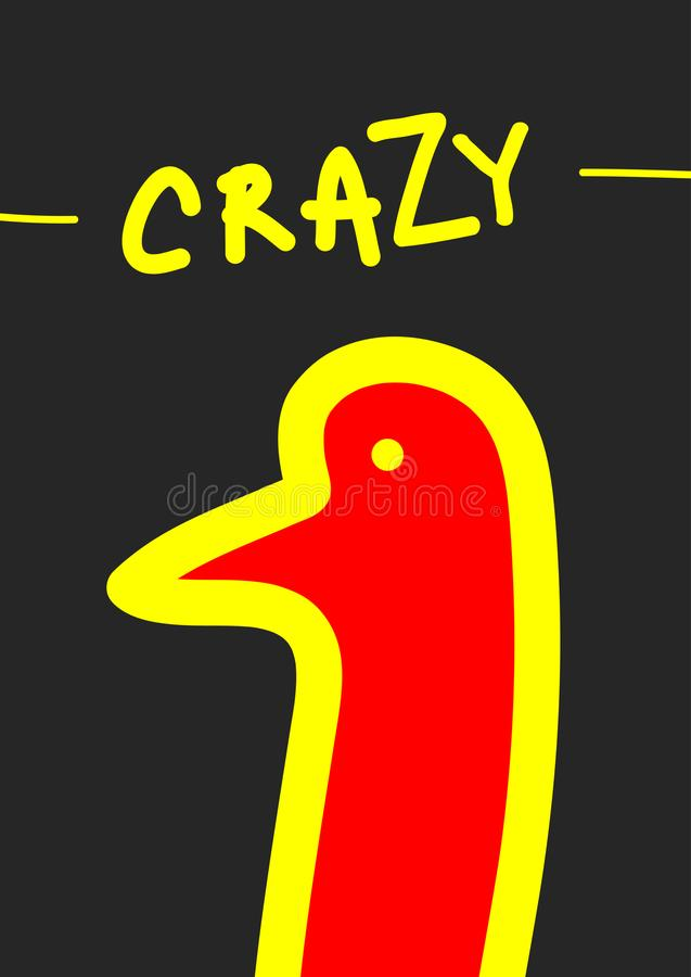 Эскиз абстрактной головы птицы и рукописного текста шальных Охладите печать для дизайна футболок иллюстрация вектора