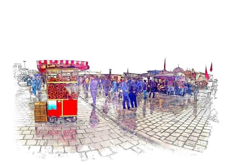 Эскиз акварели Бейгл для продажи на квадрате Eminonu в Стамбуле, турецкий бейгл вызвали SIMIT Турецкая еда улицы иллюстрация вектора