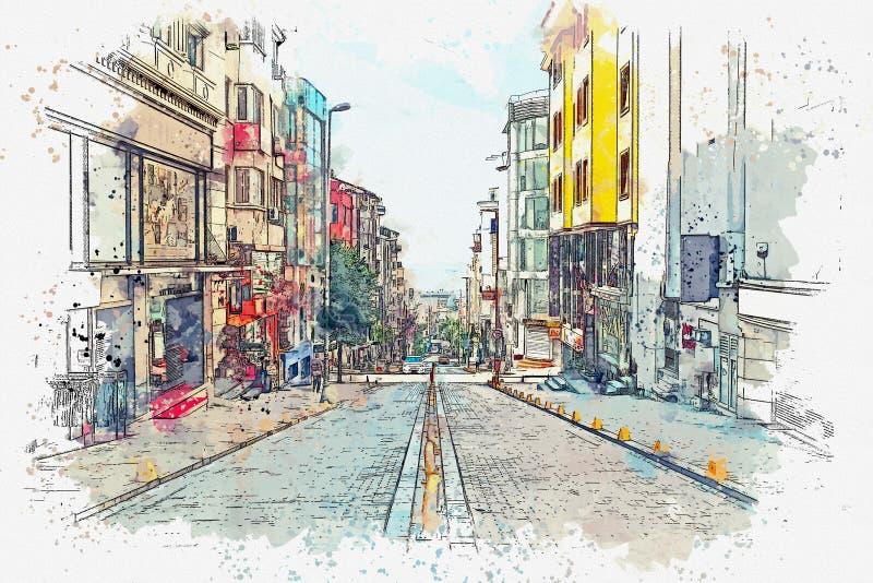 Эскиз акварели или иллюстрация традиционной улицы в Стамбуле иллюстрация штока