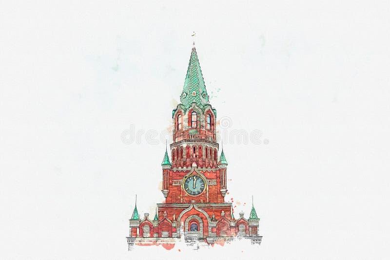 Эскиз акварели или иллюстрация kremlin Россия иллюстрация штока