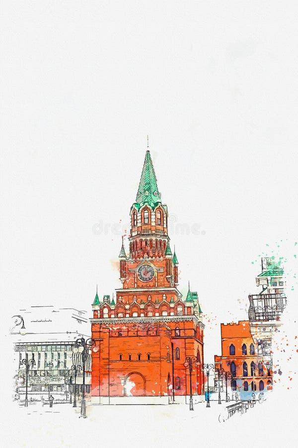 Эскиз акварели или иллюстрация kremlin Россия иллюстрация вектора
