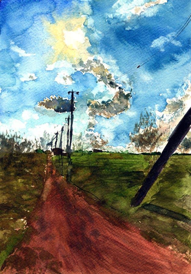 Эскиз акварели руки вычерченный сельского ландшафта, день солнца над полем и дорога иллюстрация штока