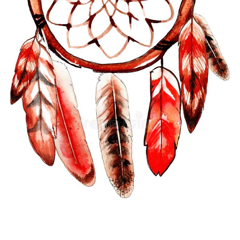 Эскиз акварели улавливателя красного цвета мечт стоковая фотография rf