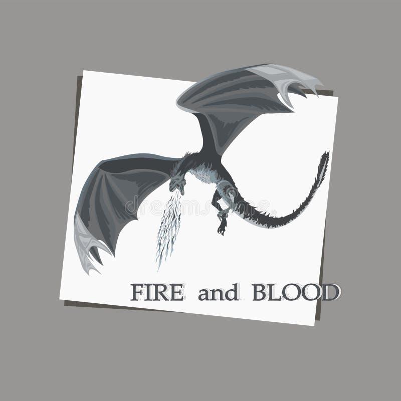 Эскиз атакуя дракона на белой предпосылке иллюстрация штока