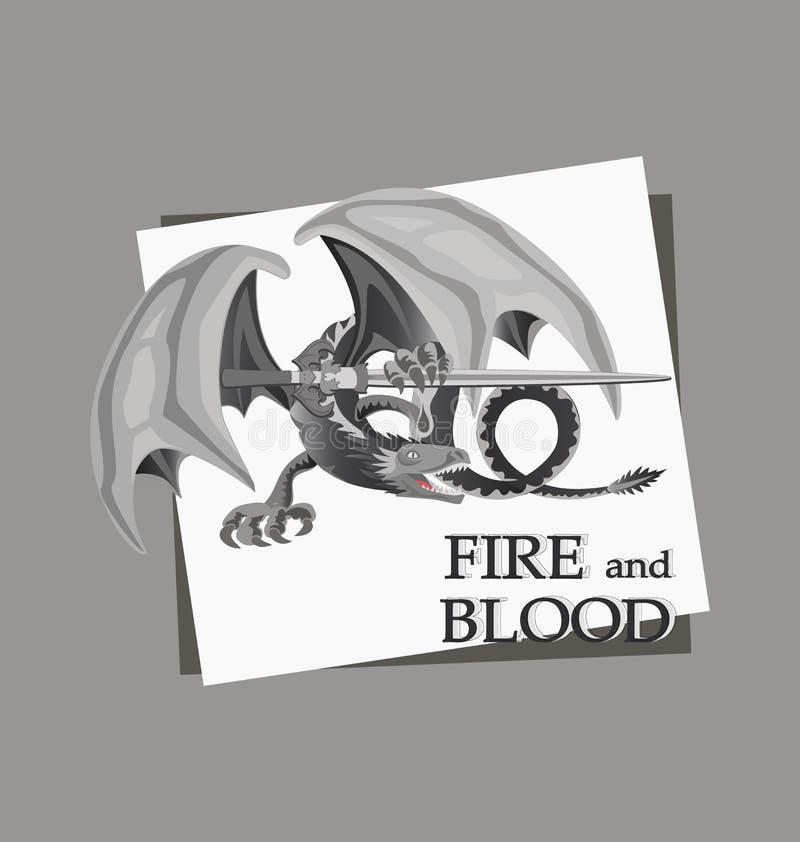 Эскиз атакуя дракона со шпагой бесплатная иллюстрация