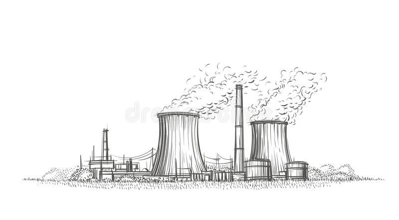 Эскиз атомной электростанции нарисованный рукой вектор иллюстрация вектора