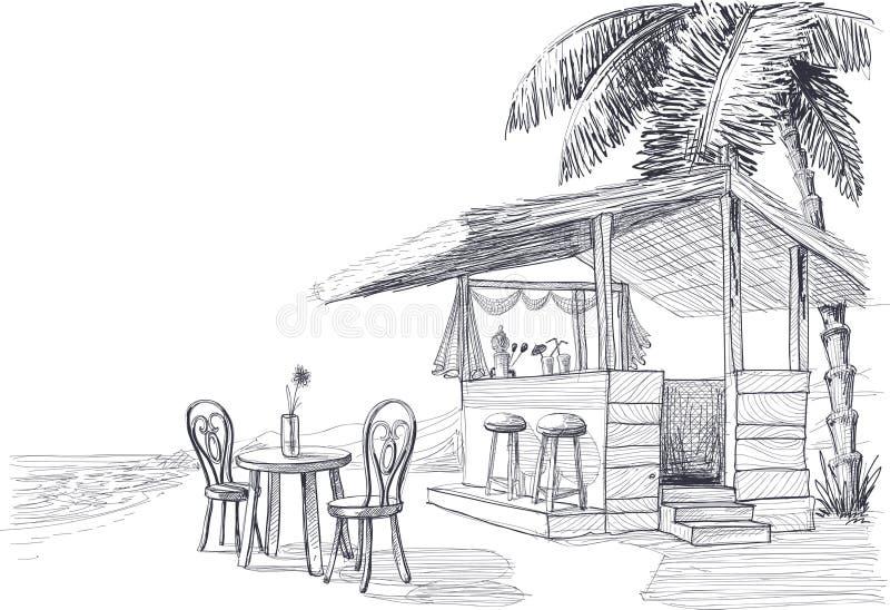 Эскиз бара пляжа иллюстрация вектора