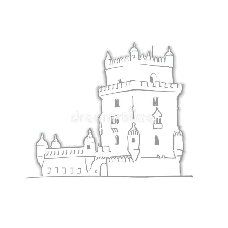 Эскиз башни Лиссабона Португалии Belem иллюстрация вектора