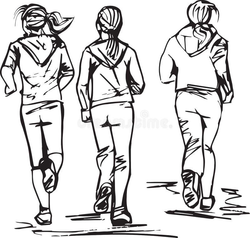 Эскиз бегунов в группе бесплатная иллюстрация
