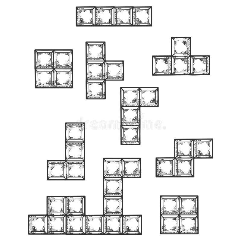 Эскиз блоков головоломки игры понижаясь гравируя вектор иллюстрация вектора