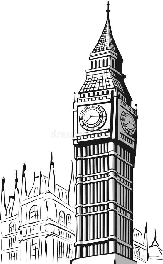 Эскиз большого Бен Лондон иллюстрация вектора
