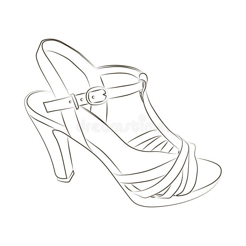 Эскиз ботинка женщин на белой предпосылке иллюстрация штока