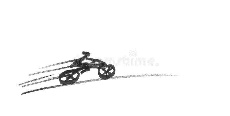 Эскиз быстрого велосипедиста катания иллюстрация вектора