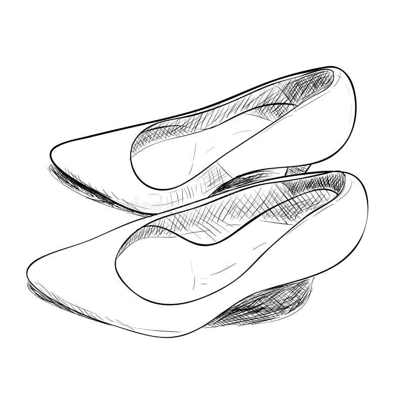 Эскиз вектора женских ботинок бесплатная иллюстрация