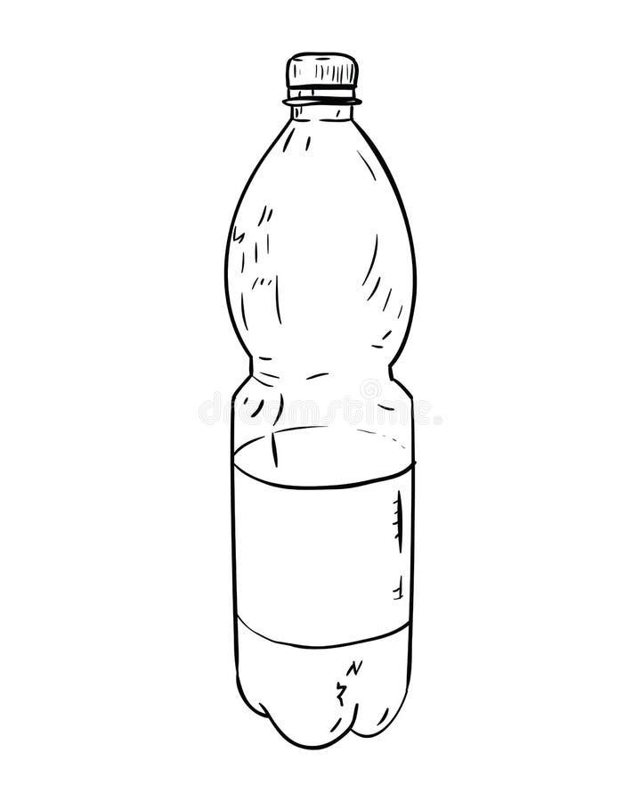 Эскиз вектора пластичной бутылки иллюстрация вектора
