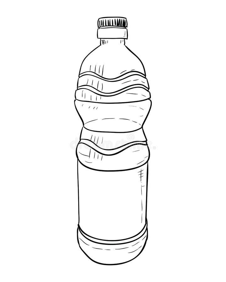 Эскиз вектора пластичной бутылки иллюстрация штока