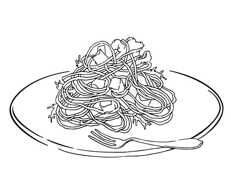 Раскраска макароны с котлетой