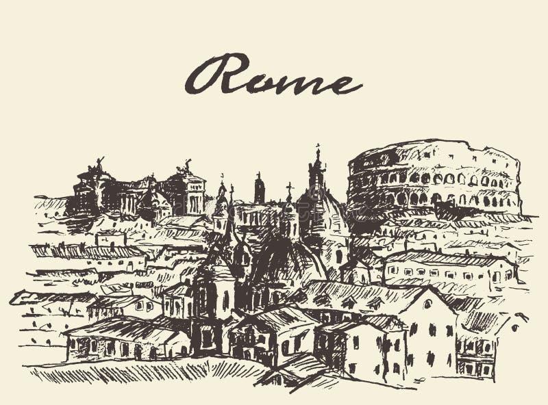 Эскиз вектора Рима Италии улицы нарисованный иллюстрацией иллюстрация штока