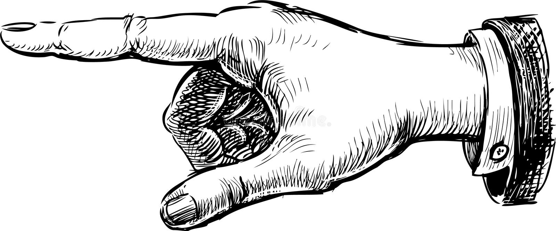 Рука с указывать перст иллюстрация вектора