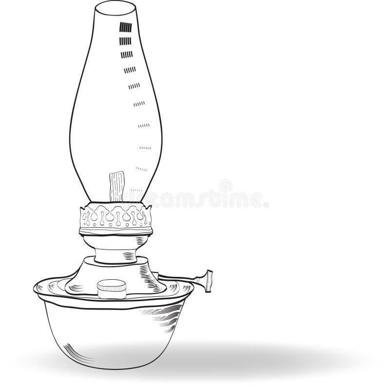 Эскиз винтажной масляной лампы, вектор бесплатная иллюстрация