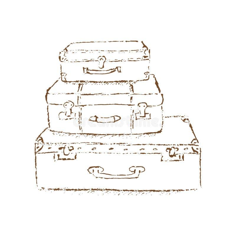 Эскиз винтажных чемоданов бесплатная иллюстрация