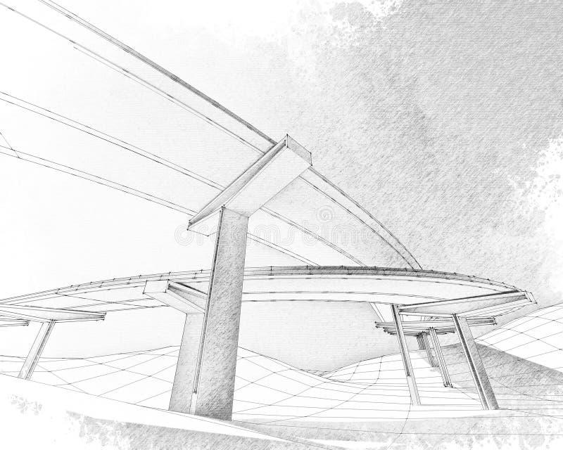 Эскиз двухуровневого шоссе. стоковое фото