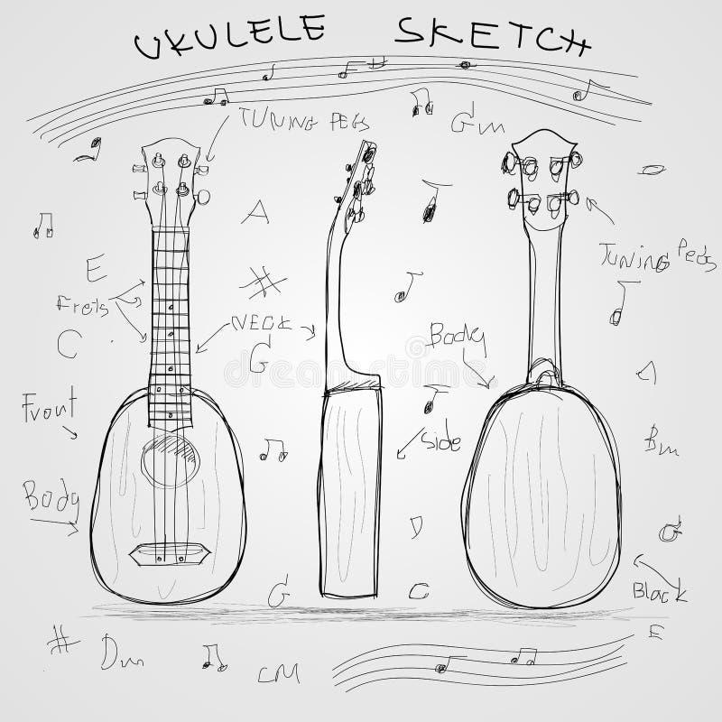 Эскиз гавайской гитары иллюстрация вектора