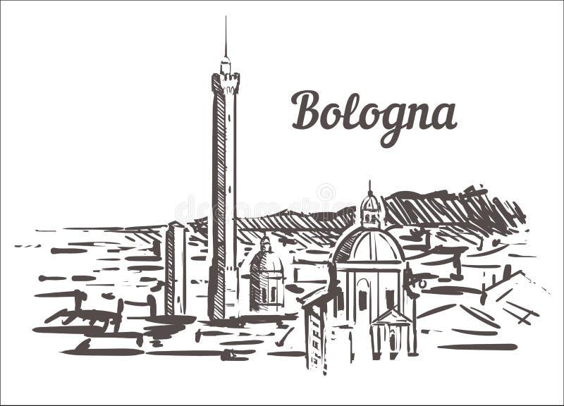 Эскиз горизонта болонья Иллюстрация руки болонья, Италии вычерченная бесплатная иллюстрация