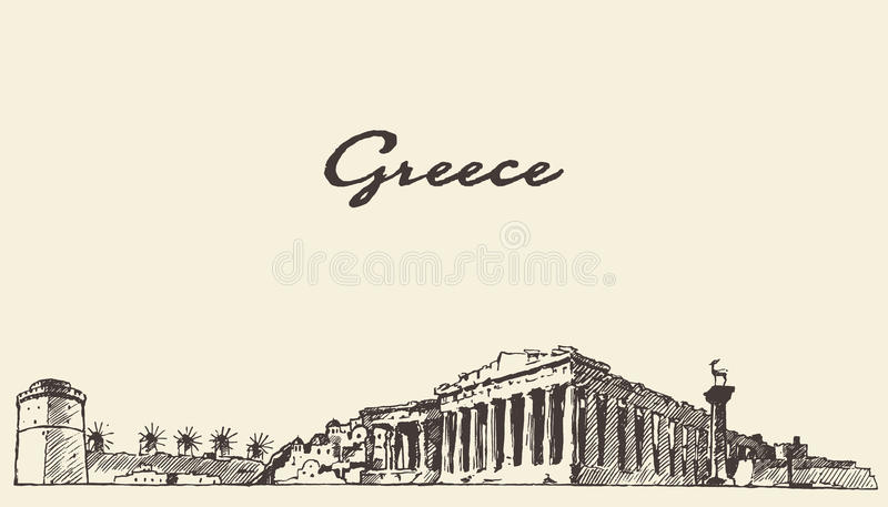 Эскиз горизонта Греции винтажной нарисованный иллюстрацией иллюстрация вектора