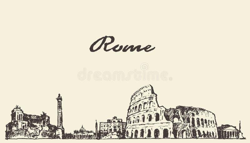 Эскиз горизонта Рима винтажной нарисованный иллюстрацией иллюстрация вектора