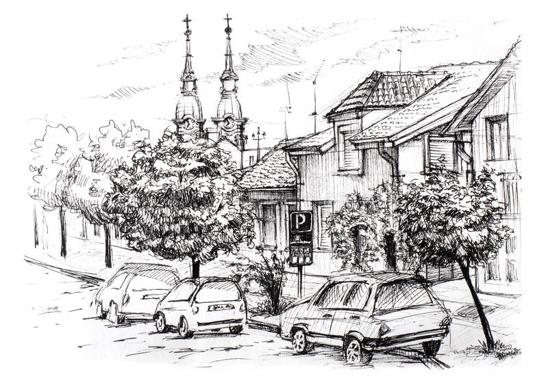 Эскиз городского ландшафта в Сербии Улица города с частными домами, церковью, автомобилями и деревьями иллюстрация вектора
