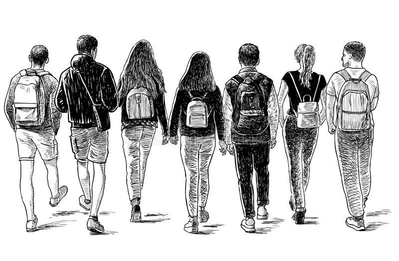 Эскиз группы в составе друзья студентов идя вниз по улице иллюстрация вектора