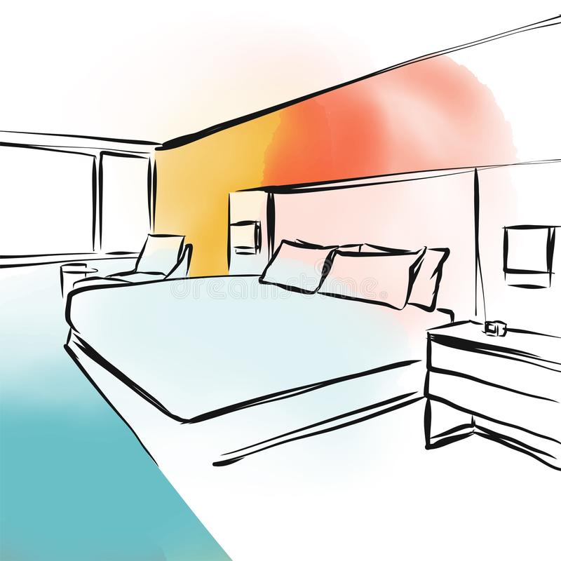 Эскиз дизайна концепции спальни shui Feng иллюстрация штока