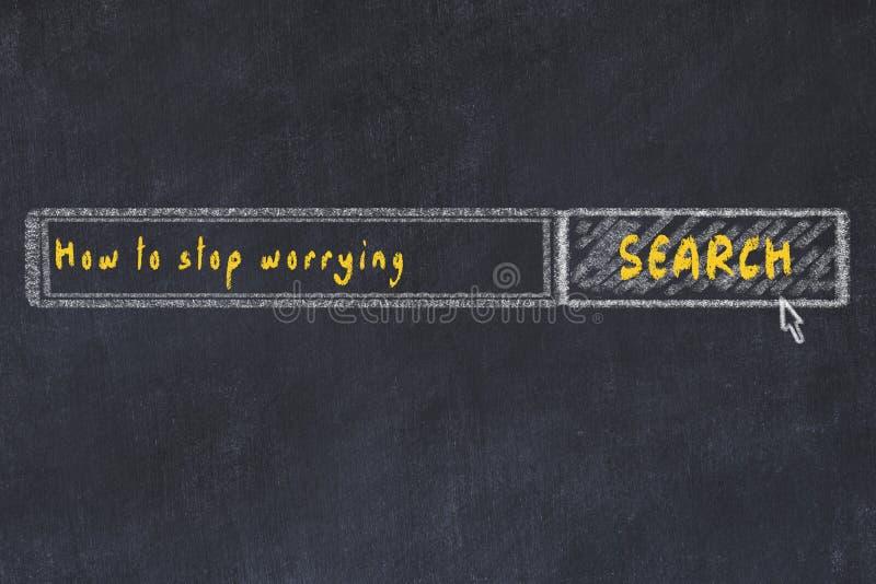 Эскиз доски мела поисковой системы интернета Ищущ как остановить потревожиться иллюстрация вектора