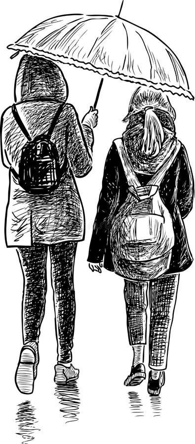 Эскиз девушек в дожде бесплатная иллюстрация
